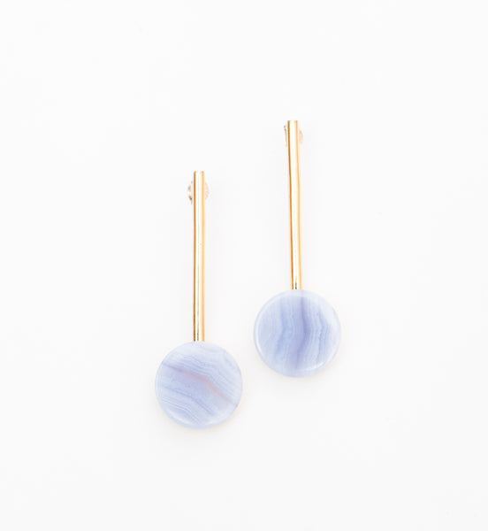 Blue Lace Agate Hemisphere Drop Earrings