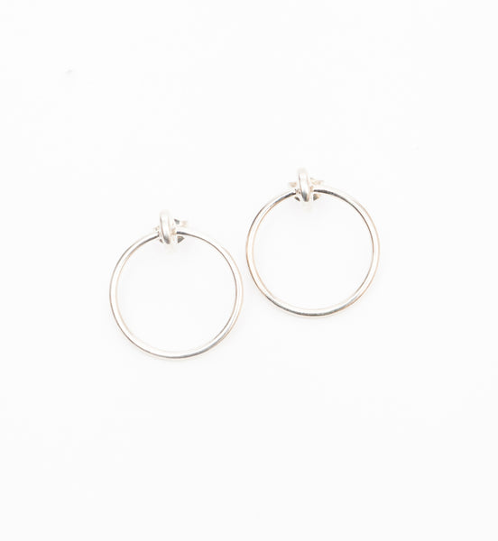 Silver Large Moon Hoop Earrings