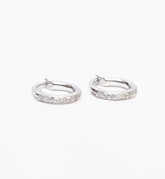 White Gold Pavé Huggie Hoops