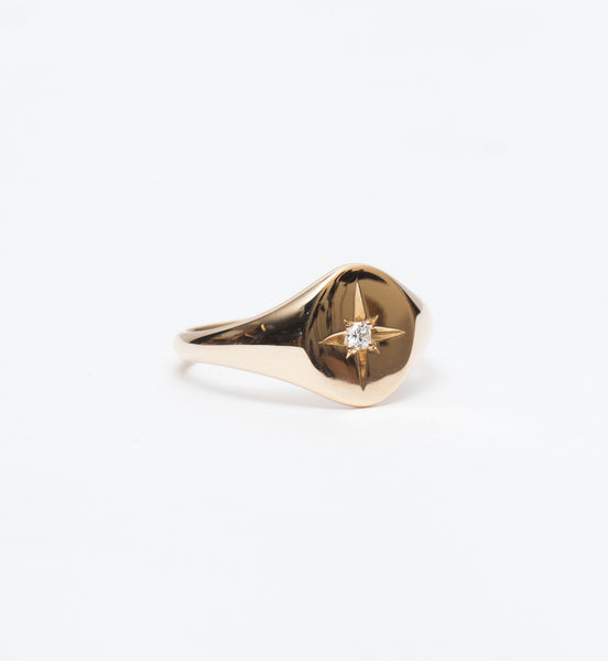 Star Set Diamond Signet Ring