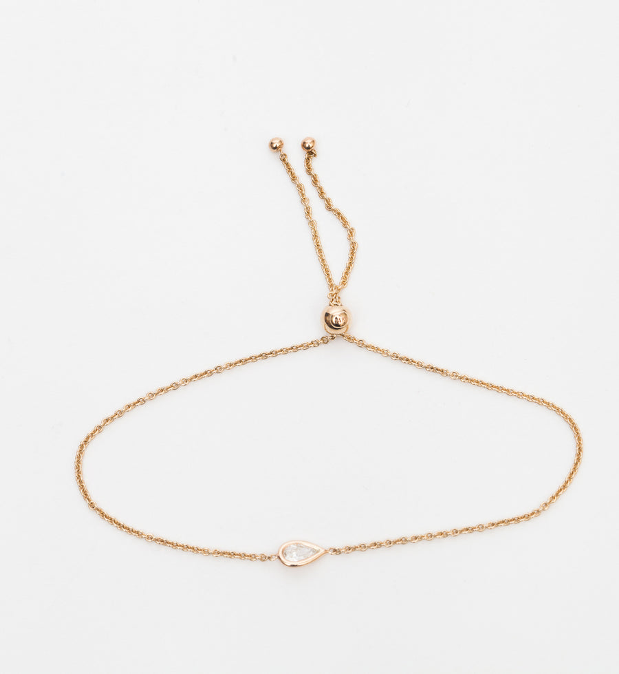 Floating Pear Diamond Bolo Bracelet