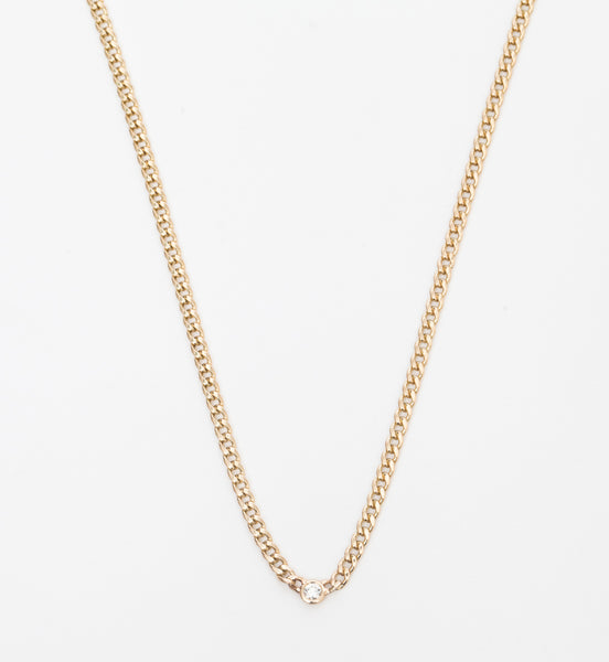 Small Curb Necklace with Single Floating Diamond