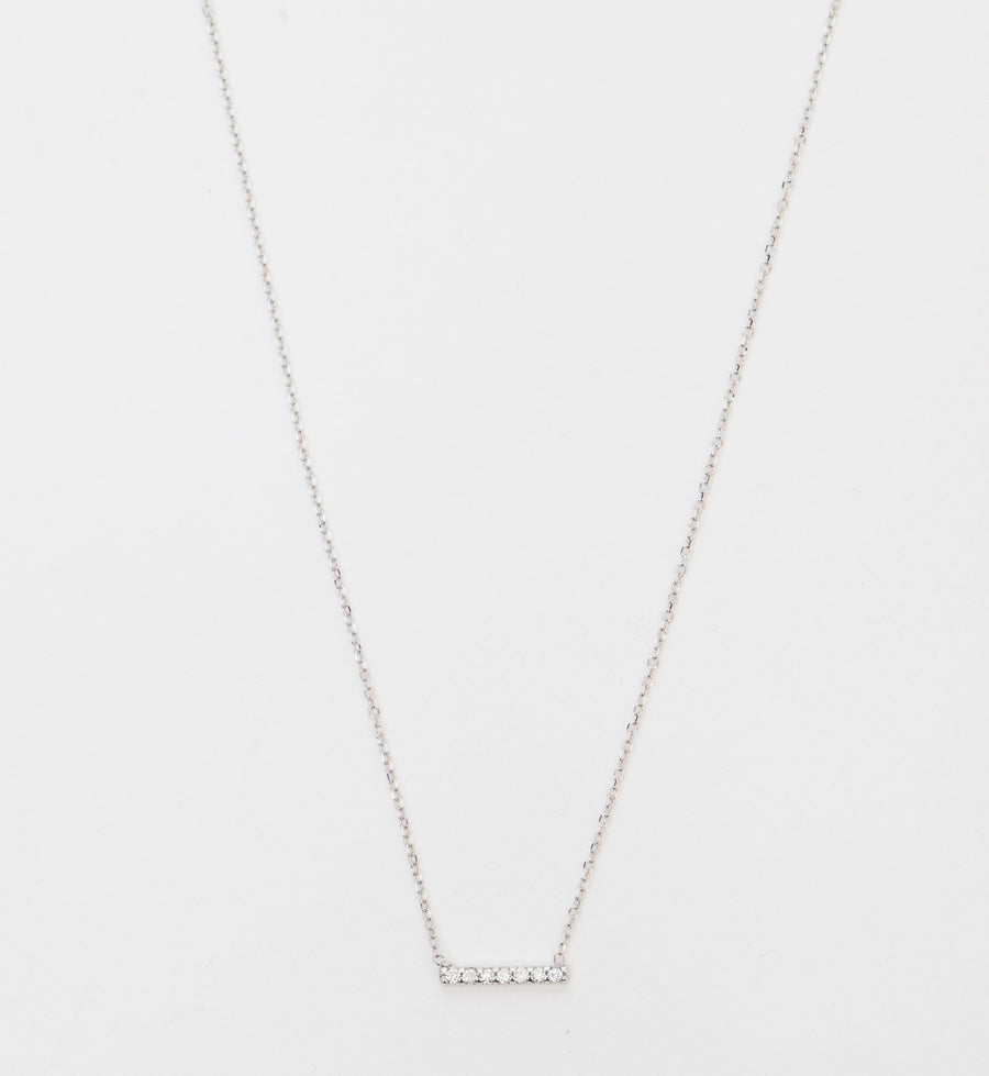 White Gold 7 Diamond Pavé Bar Necklace