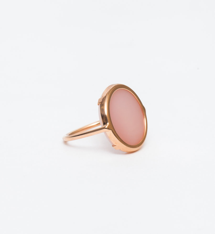 Pink Mother of Pearl Disc Ring