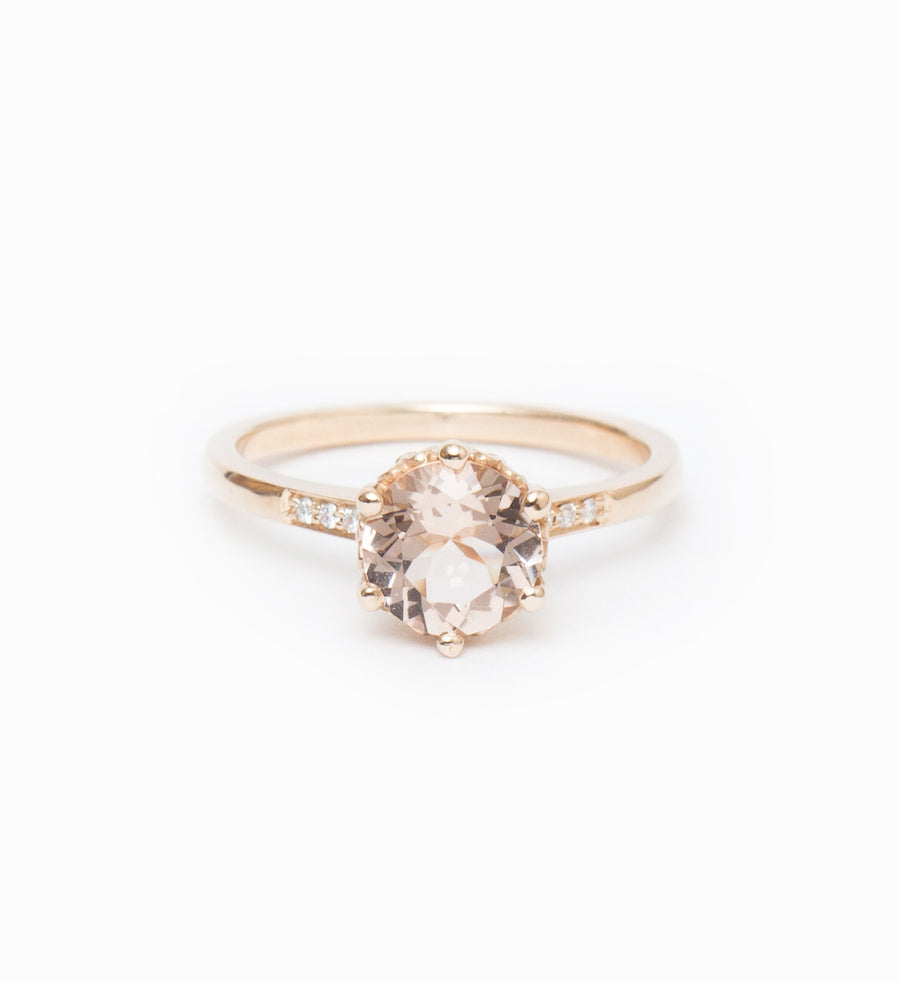 Peach Morganite Hazeline Solitaire Ring: Front