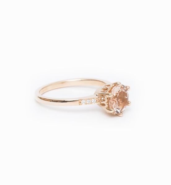 Peach Morganite Hazeline Solitaire Ring: Angle