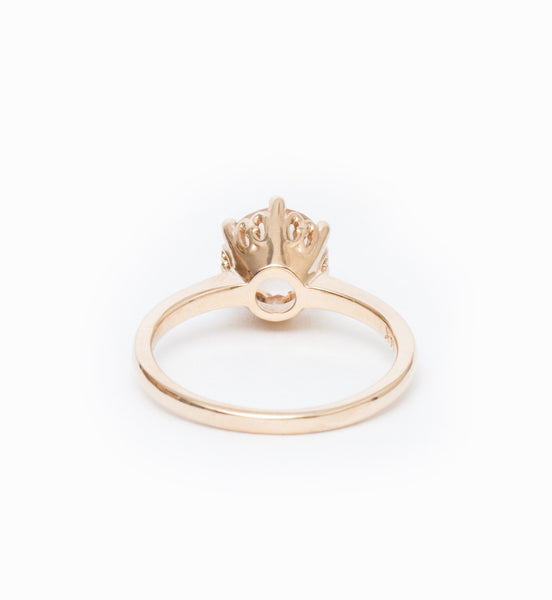 Peach Morganite Hazeline Solitaire Ring: Back