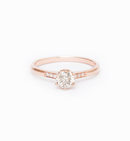 Champagne Diamond Small Hazeline Solitaire Ring: Front