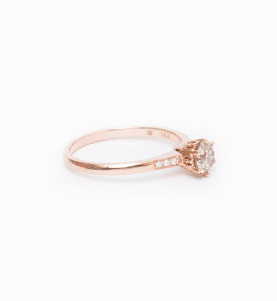 Champagne Diamond Small Hazeline Solitaire Ring: Angle