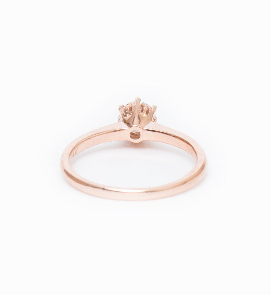 Champagne Diamond Small Hazeline Solitaire Ring: Back