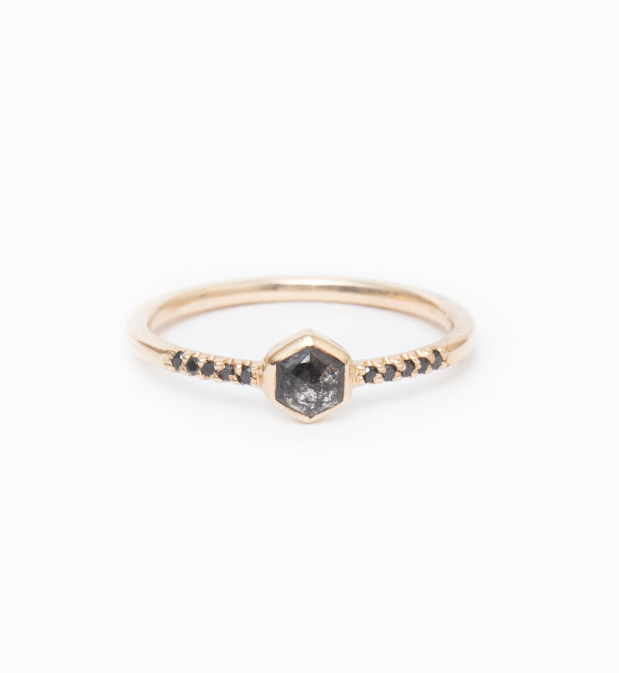 Hexagon Diamond Ring: Front