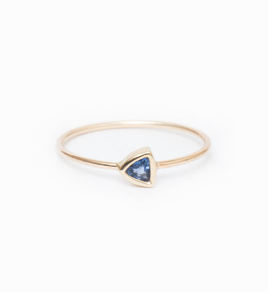 Blue Sapphire Trillion Ring: Front