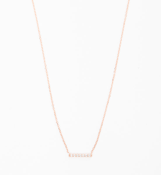 Rose Gold 7 Diamond Tiny Pavé Bar Necklace
