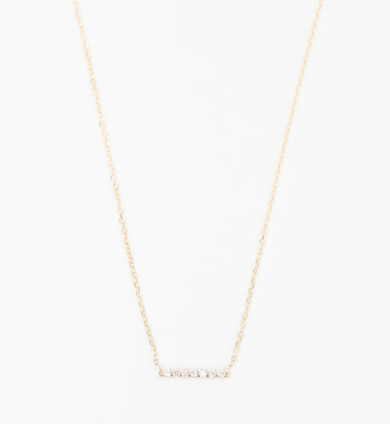 Gold 7 Diamond Tiny Pavé Bar Necklace