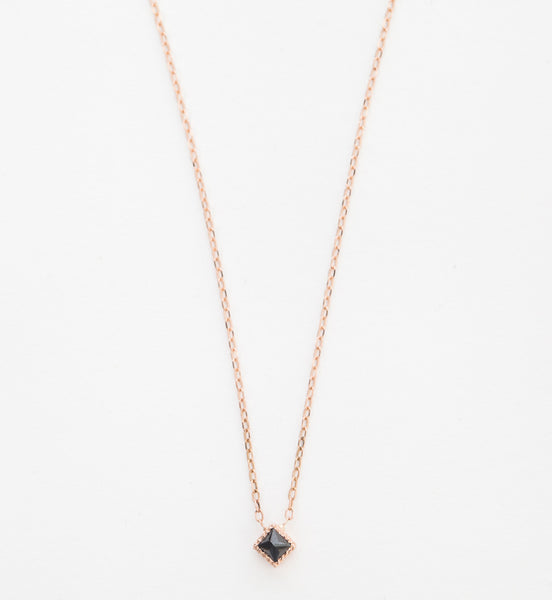 Square Black Diamond Pendant Necklace