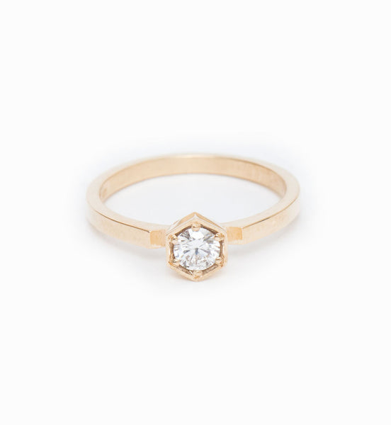 Hexagon Solitaire Ring: Front
