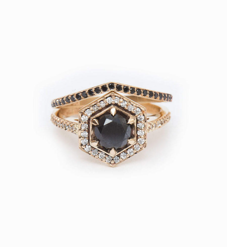 Black Diamond Curved Eternity Band: With Hex Engagement Ring