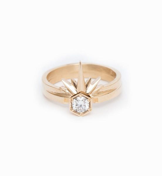 Starburst Band: With Hexagon Solitaire Ring