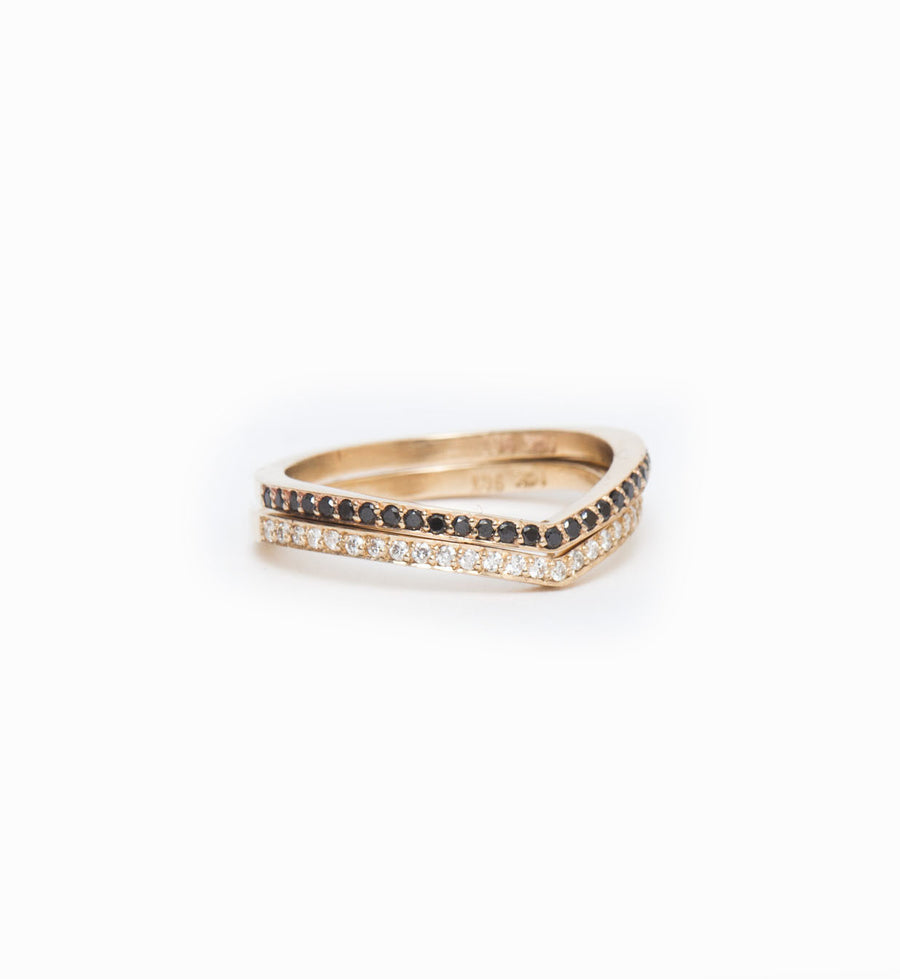 Black Diamond Curved Eternity Band: With White Diamond Curved Eternity Band