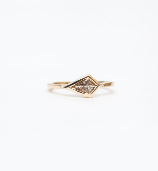 East-West Cognac Kite Diamond Ring