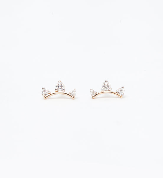 Three Diamond Amigos Curve Studs