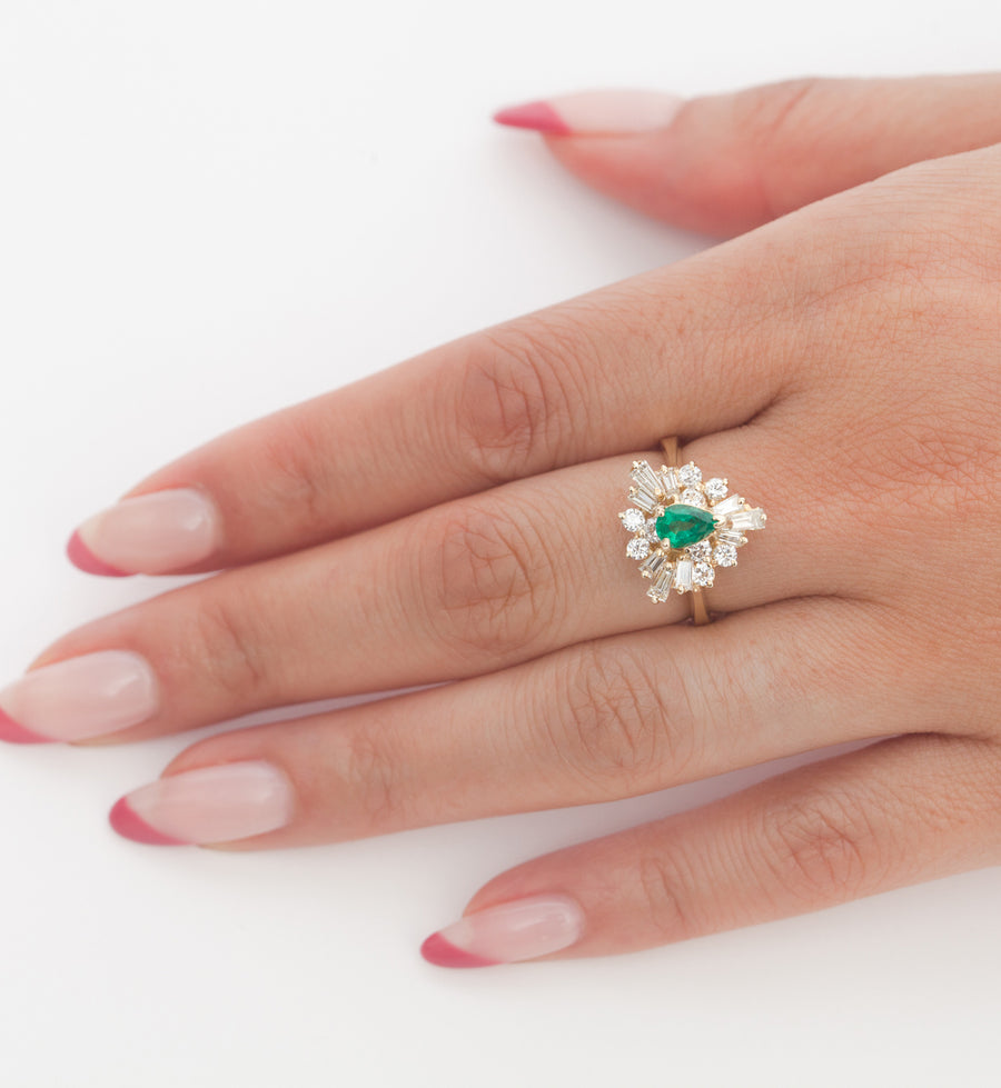 Pear Emerald Ballerina Ring