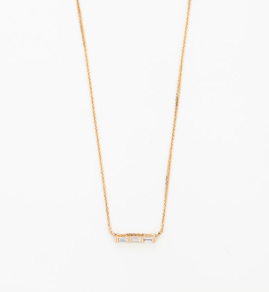 Three Baguette Necklace