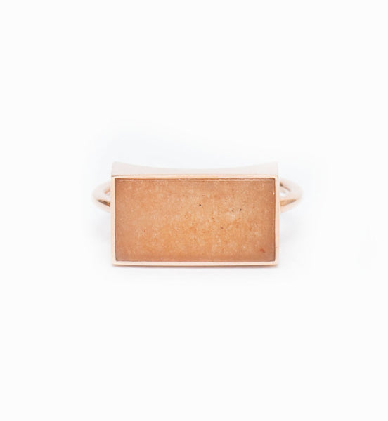 Ever Peach Aventurine Rectangle Ring: Front