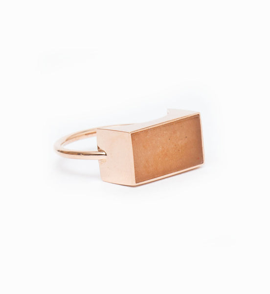 Ever Peach Aventurine Rectangle Ring: Angle