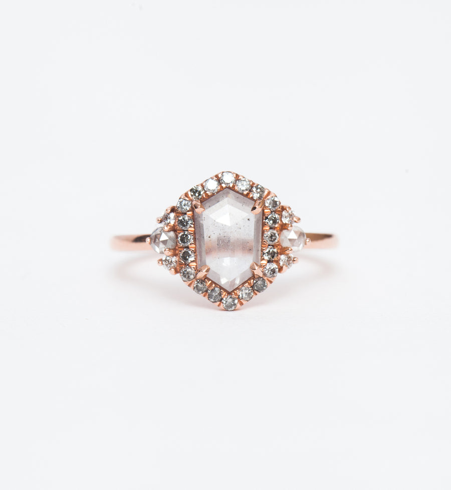Grey Hexagon Diamond Eleanor Halo Ring