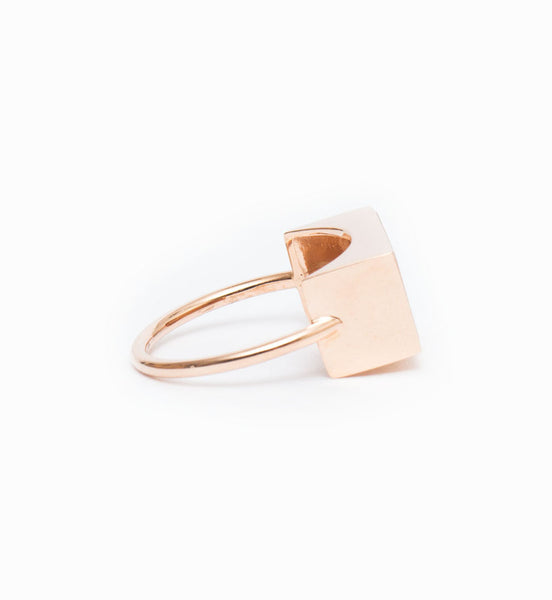 Ever Peach Aventurine Rectangle Ring: Side