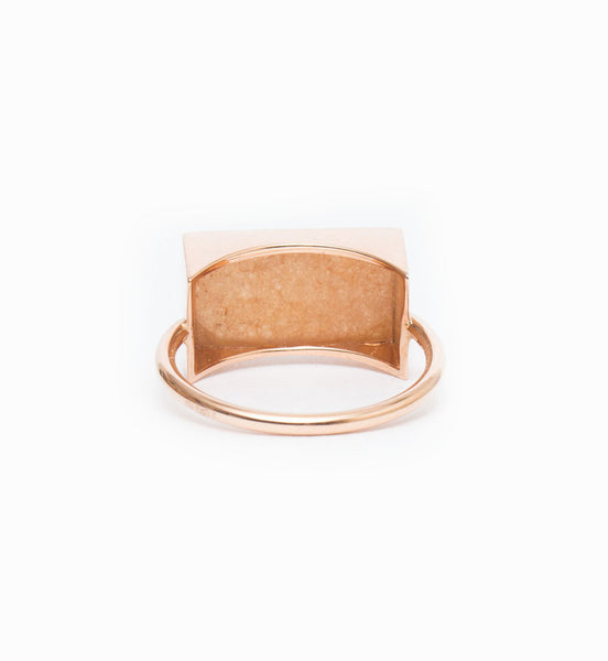 Ever Peach Aventurine Rectangle Ring: Back