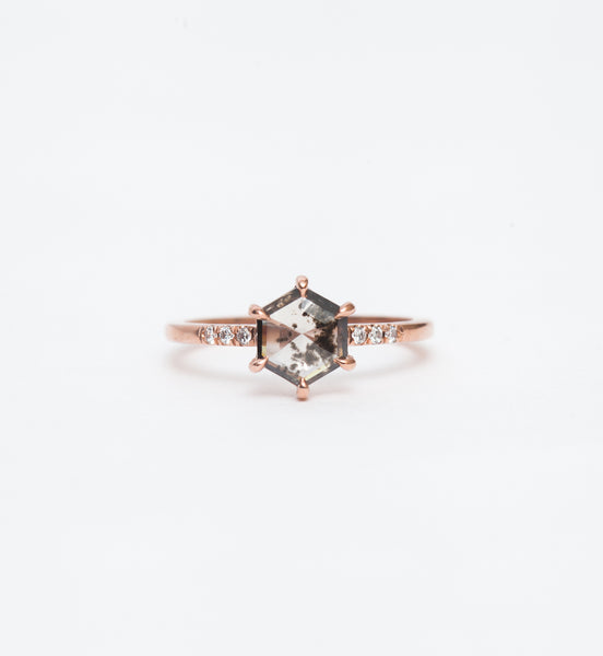 Salt & Pepper Hexagon Diamond Jules Ring