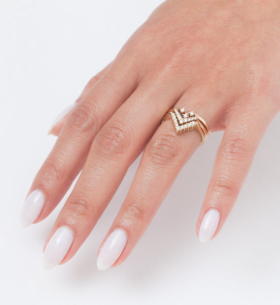 White Diamond Chevron Band: Worn
