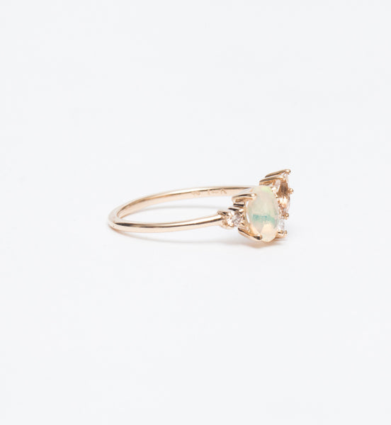 Eaves Cluster Opal & Morganite Ring