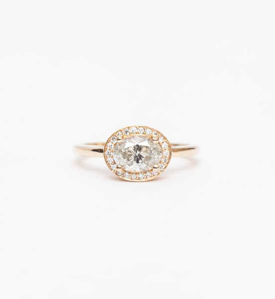 Fancy Grey Oval Diamond Rosette Ring