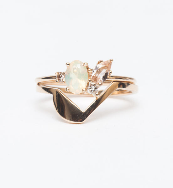 Opal & Morganite Cluster Ring