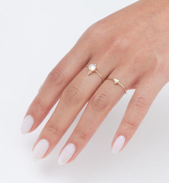 Eva Baguette Ring: Worn