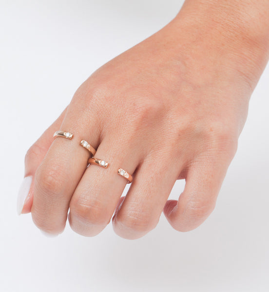 Gold Half Round 2 Diamond Ring: Worn