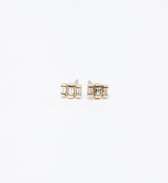 Tiny Stepped Baguette Studs