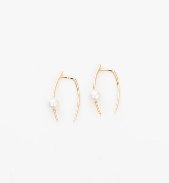 Large Infinite Tusk Earrings with Pearl