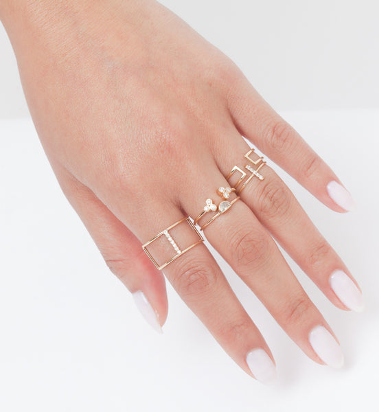 Open Wire Rectangle Ring: Worn
