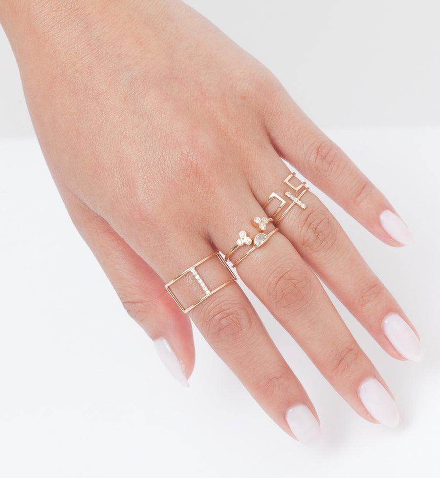 Diamond Pavé Staple Ring: Worn