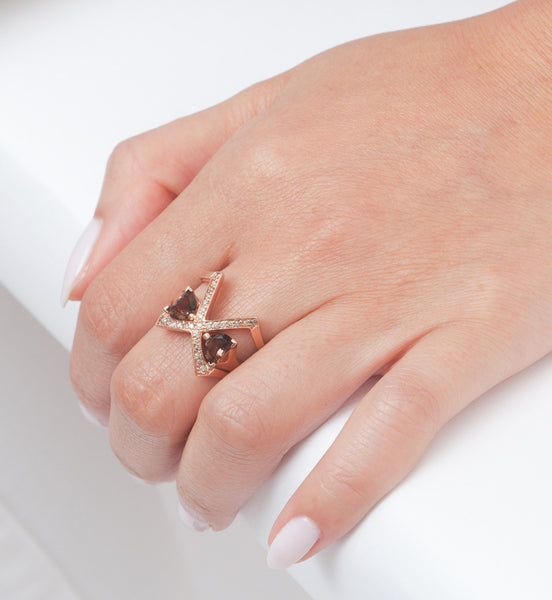 Rose Gold Visible Crescent Ring Set: Worn