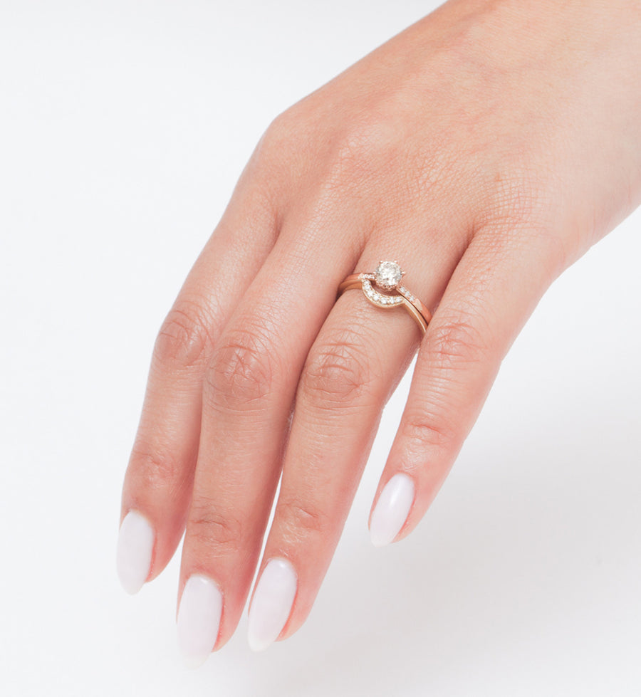 Champagne Diamond Small Hazeline Solitaire Ring: Worn
