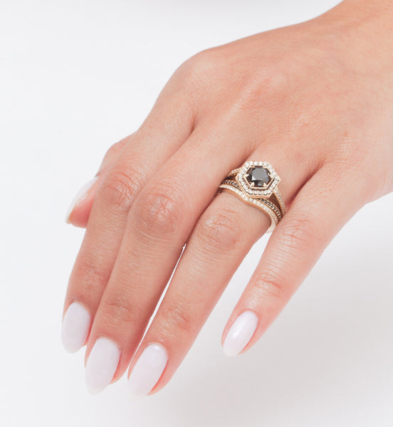 Hex Engagement Ring: Worn