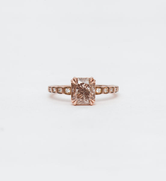 Champagne Diamond Tapered Wheat Engagement Ring
