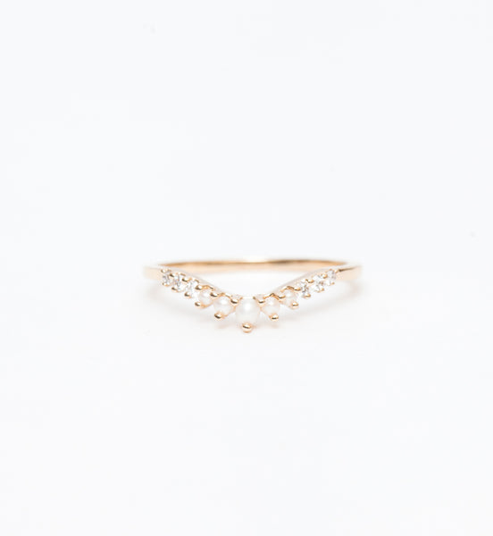 Seed Pearl & White Diamond Tiara Curve Band