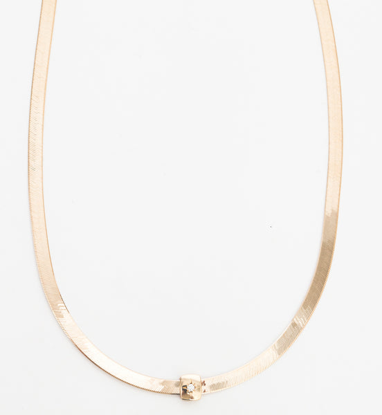 Herringbone Chain Necklace with Bead Set Diamond Slide