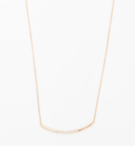 Pavé Diamond Curved Bar Necklace